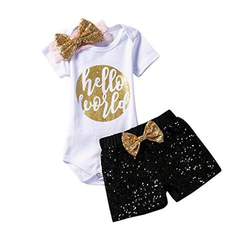 URSING 3PCS Neugeborenen Baby Mädchen Outfits Kleidung O-Ausschnitt Zur Seite fahren Spielanzug Jumpsuit + Hosen Shorts + niedlich Bownot Stirnband Bekleidungssets Dreiteiligen Anzug (60, Schwarz) (Muster Kleidung 21-puppe)