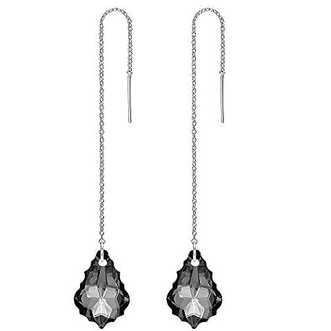 FANZE Damen Gold-Ton Lange Kette Baroque Tropfen Einfädler Ohrringe Grau Kristall von Swarovski (Kette Einfädler Ohrringe)