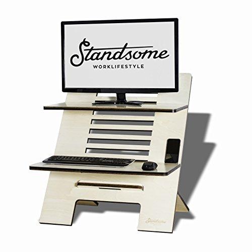 Stehschreibtisch Aufsatz aus Holz - Der höhenverstellbare STANDSOME DOUBLE Steh Sitz Schreibtisch für ein gesundes Arbeiten im Stehen - 4