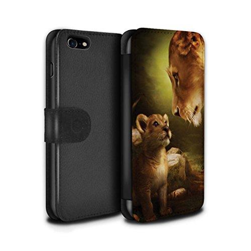 Offiziell Elena Dudina PU-Leder Hülle/Case/Tasche/Cover für Apple iPhone 8 / Ja Mama/Löwe/Cub Muster / Die Tiere Kollektion Ja Mama/Löwe/Cub