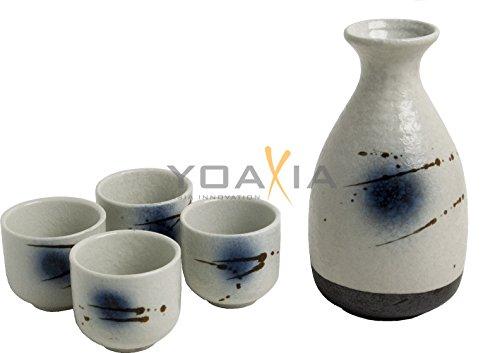 OGAWA [ BACH ] 5-teiliges Sake - Set / 1x Flasche / Karaffe + 4 Becher - Keramik Sake-becher-set