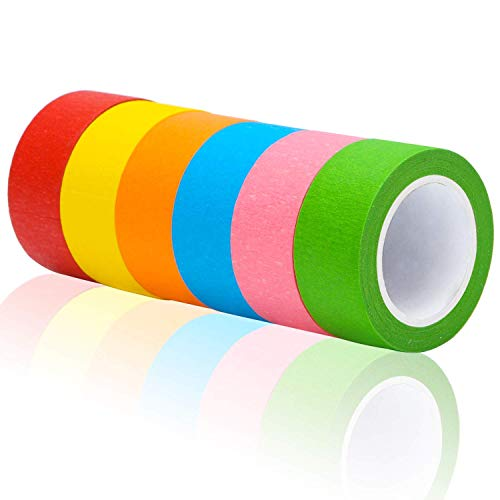 a8f8d96cf736 Aunifun 8 Stück 2,5 cm Farbiges Abdeckband Regenbogen-Masking Tape  Beschriftungsband Grafik-Kunst Tape Rolle für Spaß DIY Kunst Supplies Kit,  8 ...
