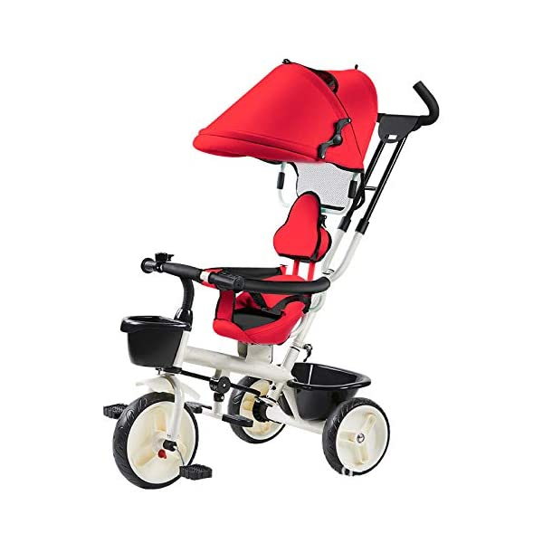 BGHKFF 4 In 1 Children's Hand Push Tricycle 1 To 6 Years 360° Swivelling Saddle Children's Pedal Tricycle Folding Sun Canopy 2-Point Safety Belt Folding Footrests Child Trike Maximum Weight 25 Kg,Red BGHKFF ★Material: Steel frame, suitable for children aged 1-6, maximum weight 25 kg ★ 4 in 1 multi-function: can be converted into a stroller and a tricycle. Remove the hand putter and awning, and the guardrail as a tricycle. ★Safety design: Golden triangle structure, safe and stable; front wheel clutch, will not hit the baby's foot; 2 point seat belt + guardrail; rear wheel double brake 1