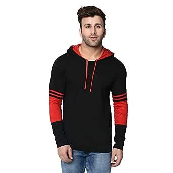 Rockhard Mens Solid Full Sleeve Hooded Black T-Shirt