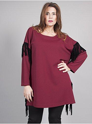Vêtement Femme Grande Taille Tunique Frange Bordeaux Rouge