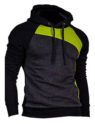 Bestgift Herren T-Shirt Hoody Pullover Multi-Taste Hoodie Shirt Knopfleiste T-Shirt Schwarz+Knallgelb+Dunkel Grau XL (Dunkler Als Schwarz Tshirt)