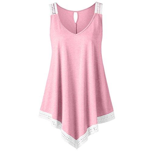 MOIKA Damen Tank Tops, New Mode Damen Casual V-Ausschnitt Swing Lace Asymmetrische Solide Weste Tank Tops Bluse(L2,Rosa) (Jersey V-ausschnitt Mantel)