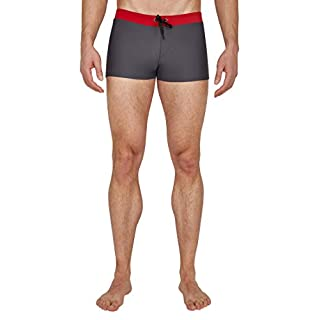 Ultrasport Advanced Men's Swimming Trunks Kaleo, Grey/Red/Black, M