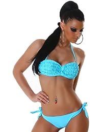 P.F. Damen Bandeau-Bügel-Bikini mit Rüschen verziert