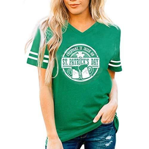 Mymyguoe 'Cheers' Brief Druckn Kurzarm T-Shirt Damen fur St. Patrick´s Day Costume Grün Kleeblatt Drucken mit Bierkrug Stylische Lässiges Basic Tee O-Neck Ausschnitt Classics Oberteile Sommer