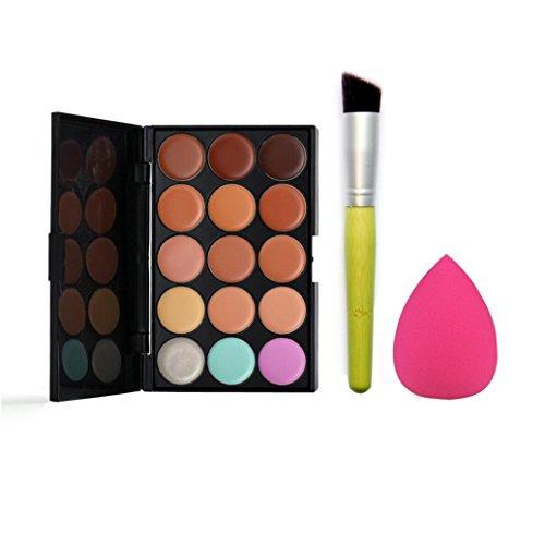 Susenstone 15 Couleurs de Palette Correcteur + L'eau Éponge Puff + Pinceau de Maquillage