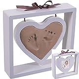 22cm Abdruck-Set und Holz Bilderrahmen Herz zum Aufstellen | Baby Hand Fuß Modellier Masse Weiss