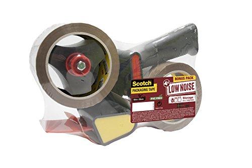 Scotch Handabroller - Paketklebeband-Abroller inkl. 2 Rollen Scotch braunes Paketklebeband (50 mm x 66 m) - Einfache Bedienung & extra leises Abrollen