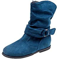 LOVELYOU Femmes Bottes de Neige Bottes Rondes Bottines Chaussures Plates Low Wedge Buckle Biker Cheville Garniture Simples Chic Confortable Sexy Mode Casual Printemps Automne Hiver