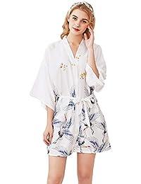 Rojeam Batas de Kimono de satén Cortas para Mujeres con Bata Estampada Estampado de Dormir