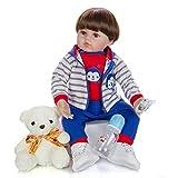 LVYE1 Bambole Reborn Bambini 24 Pollice Regalo Fatto A Mano Occhi Marroni di Impianto Artificiale per Bambino Unisex Giocattoli Regalo