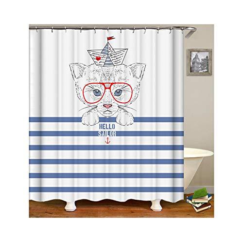 KnSam Duschvorhang Anti-Schimmel Wasserdicht Vorhänge An Badewanne Bad Vorhang für Badezimmer Hut Mütze Brille Katze 100% Polyester inkl. 12 Duschvorhangringen 150X200cm