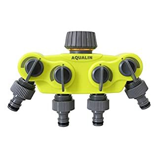 Aqualin New 4-Way Water Splitter Y Connector Garden Hose Tap Splitter Water Distributor Updated Version