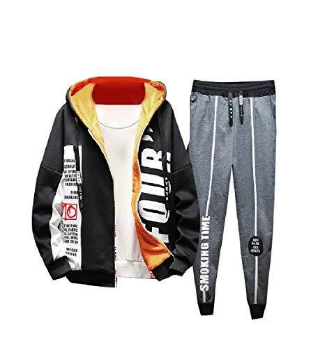 CuteRose Men Athletic Stylish Fleece Warm Thickened Tracksuit Jog Set Grey S