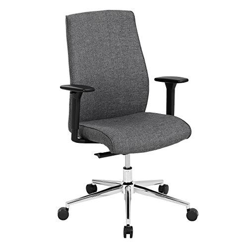 SONGMICS Bürostuhl, lastabhängig gebremste Hartbodenrollen, verstellbare Armlehnen, Chefsessel, Bürodrehstuhl mit Stoffbezug, grau OBG42G