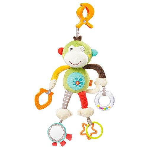 Fehn 074383 Activity-Spieltier Affe / Motorikspielzeug zum Aufhängen mit Spiegel & Ringen zum Beißen, Spielen, Greifen und Geräusche erzeugen / Für Babys und Kleinkinder ab 0+ Monaten