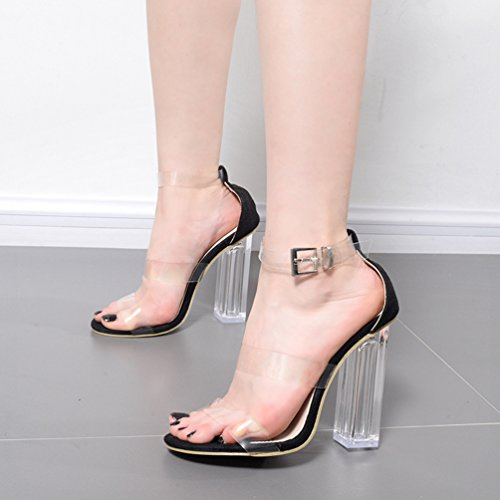 Aisun Damen Fashionable Transparent Open Toe Blockabsatz Schnelle Sandalen Schwarz