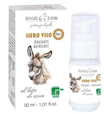 DELICATO D'ASINA - Gesichts-Serum mit Esel-Milch - Feuchtigkeitsspendend, Nährstoff, reich an Proteinen - 30 ml - Gesicht Milch Esel