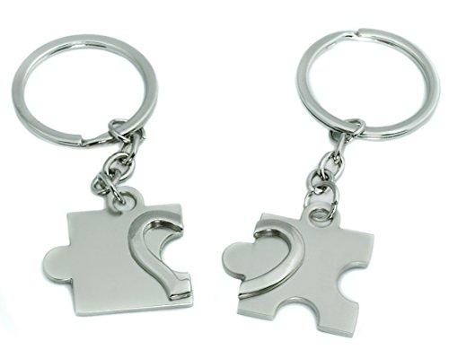 """Ein sehr schöner Schlüsselanhänger """"Partnerherz Puzzle"""" mit Gravur Wunschname"""