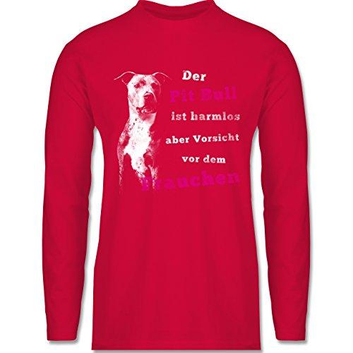 Shirtracer Hunde - der Pit Bull ist Harmlos aber Vorsicht vor dem Frauchen - Herren Langarmshirt Rot
