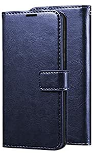 SESS XUSIVE Leather Wallet Flip Book Cover Case for Vivo S1 - Blue