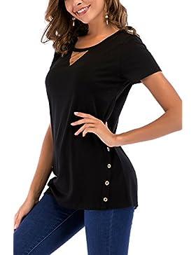 NICIAS Mujeres Botones EN Ambos Lados Manga Corta Casual Cuello Redondo Parche EN el Codo Camisa de Entrenamiento...