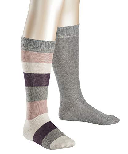 ESPRIT Mädchen Kniestrümpfe Coloured Feet Doppelpack, Gr. 31-34, Grau (light greymeliert 3390)
