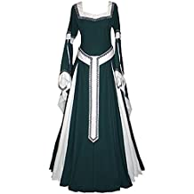 tianxinxishop Vestido de Traje Renacentista Medieval Vestido Largo de Estilo Victoriano Largo Gotico con Mangas Largas