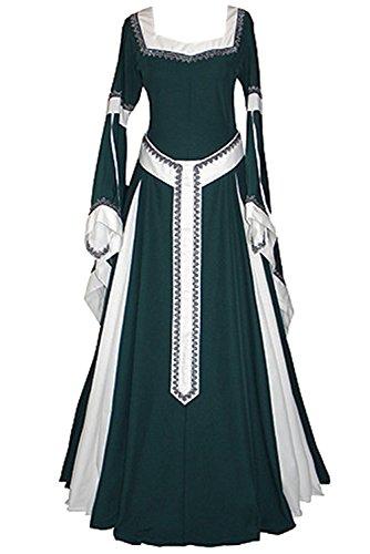 tianxinxishop Vestido de Traje Renacentista Medieval Vestido Largo de Estilo Victoriano Largo Gotico con Mangas Largas Llamaradas Verde