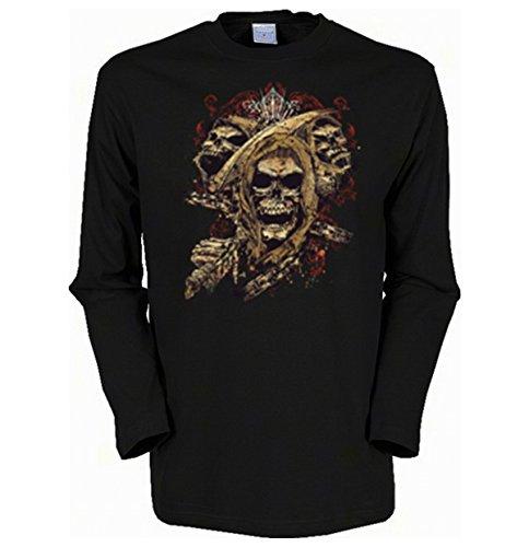 Herren Langarm-Shirt ::: Skull with Crown ::: für Gothic Fans Schwarz