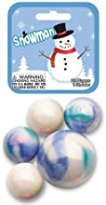 Mega Marbles SNOWMAN MARBLE NET (24 Player Marbles & 1 Shooter)