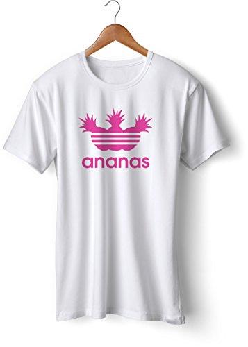Fashion T-Shirt bedruckt, 190g mit Seitennaht, Fun Druck ananas Weiß-Neonpink