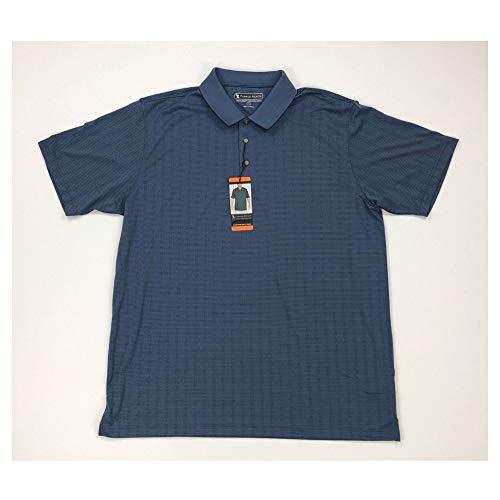 Pebble Beach Herren Golf Poloshirt Kurzarm Querformat texturiert, Navy Micro-Dot, Medium -