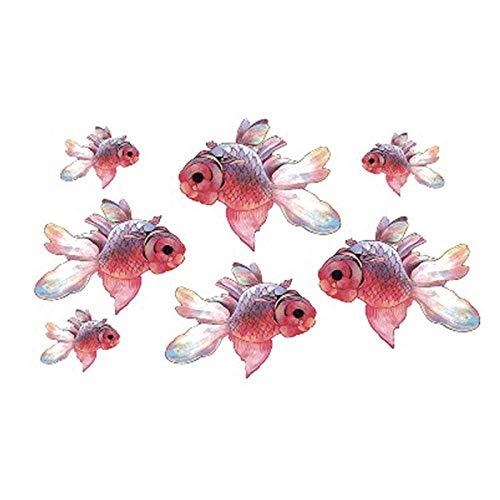 too-Aufkleber Temporäre Tätowierung Für Erwachsene wasserdichte Tätowierung Sticker Art Pink Goldfish Fake Tattoo Mann Frau 8Pc ()