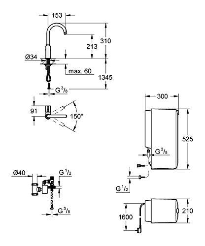 GROHE Red Mono Armatur und Kombi-Boiler (8 Liter), C-Auslauf 30080000 - 2