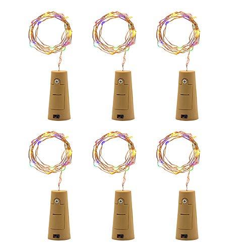 goodjinHH 6 Stück Flaschenlicht Batterie, 2m 20 LED Glas Korken Licht Kupferdraht Lichterkette für flasche für Party, Garten, Weihnachten, Halloween, Hochzeit, außen/innen Beleuchtung Deko (Kaltweiß) -