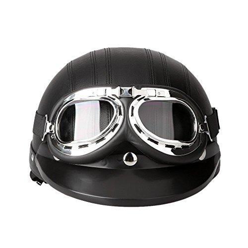 KKmoon Motorrad Scooter gesichtsoffen halbe Leder Helm mit Visier UV-Schutzbrillen Retro Vintage-Stil 54-60cm(Schwarz) - 2
