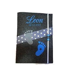 U-Heft Hülle mit Namen & Impassfach Füsse Blau