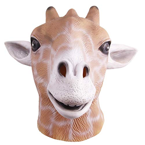 ZHANGSL Halloween Giraffe Full Over Head Maske, Cosplay Latex Tier Erwachsene Neuheit Kostüm Kopf Maske