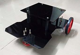 ELEMENTZ ACRYLIC ROBOT CHASSIS BODY with PLATFORM + BO MOTORS + WHEELS + CLAMPS - DIY (DO IT YOURSELF) KIT