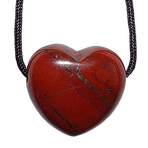 1 Stück Jaspis rot Herz Anhänger 25 mm großes Edelsteinherz ca. 2,5 mm Bohrung und Band.(4753)