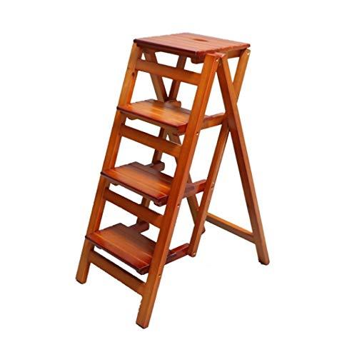 STEP STOOL Tragbarer Tritthocker, 4-Stufenleiter aus Holz rutschfeste Multifunktionsküche Schlafzimmer Wohnzimmer Leicht zu verstauen 42 × 87 × 92 cm (Color : Brown) -