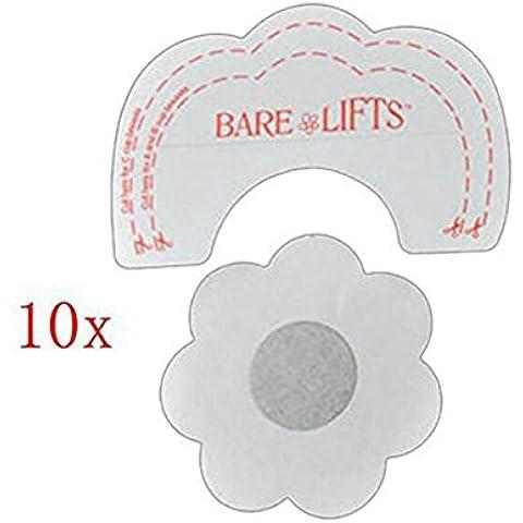 10 x Pegatina Cubierta De Pezón Sujetador & 10 x Levantamiento de Senos Autoadhesivo Sujetador Invisible Desechable Pegatina