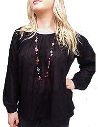 Ladies UK Size 10–22ligero verano bordado Top en color negro o morado/azul