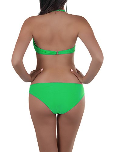 N314 Damen Bikini Neckholder Push Up Triangle Bikiniset Beachwear 2in1 Bandeau Grün